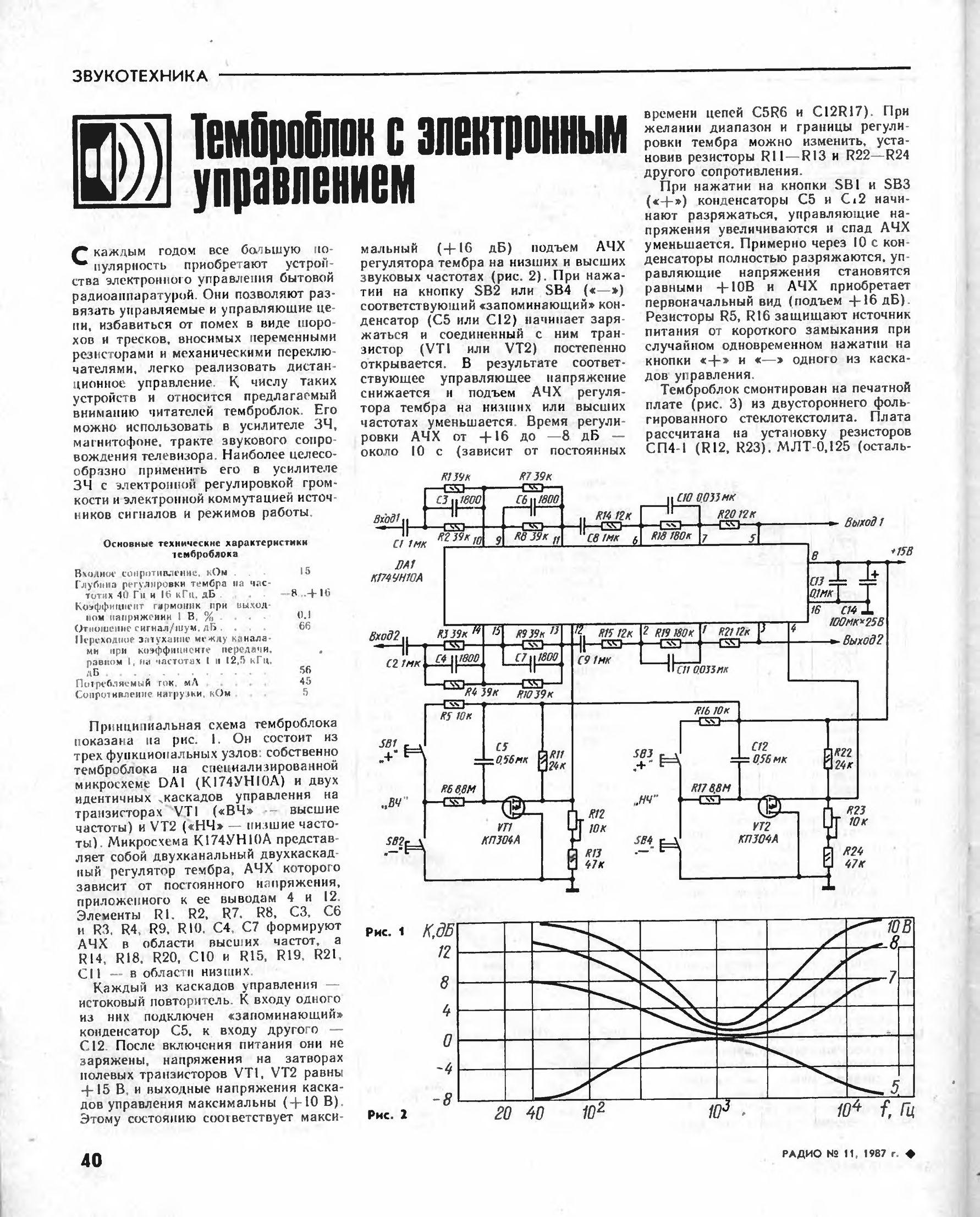 Стереофонический регулятор тембра с электронным управлением