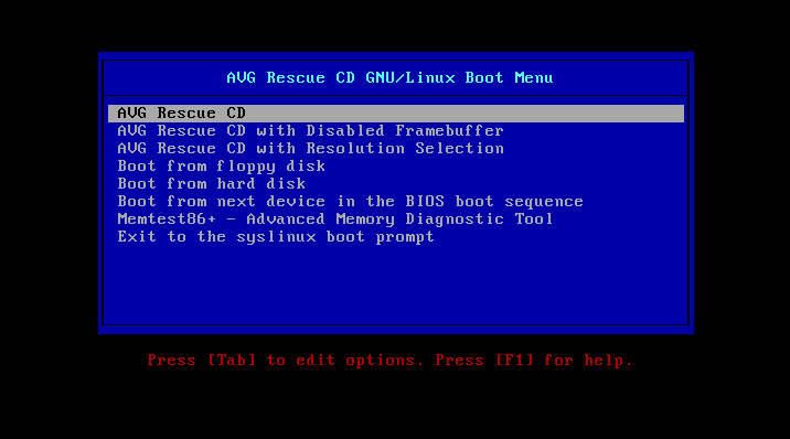 AVG Rescue CD boot menu