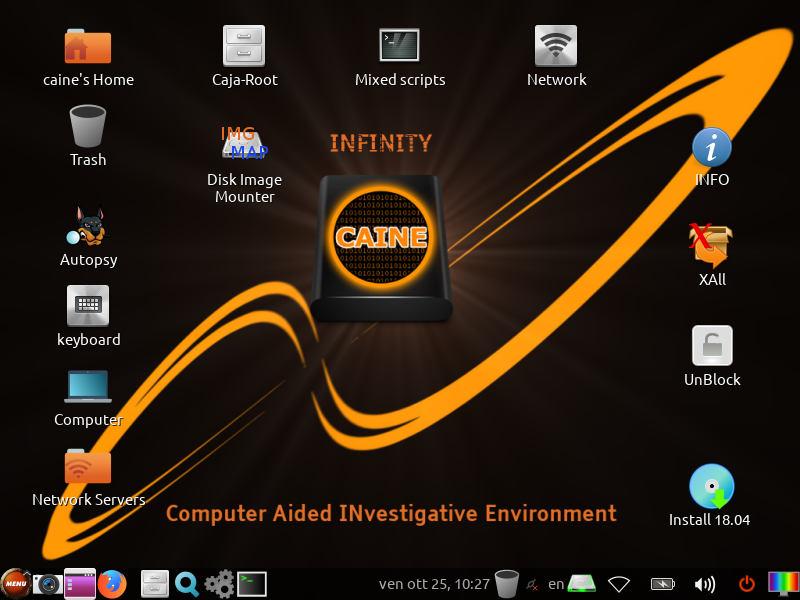 Скриншот рабочего окружения CAINE