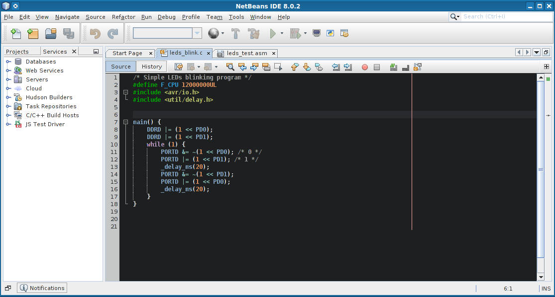 NetBeans for AVR microcontrollers