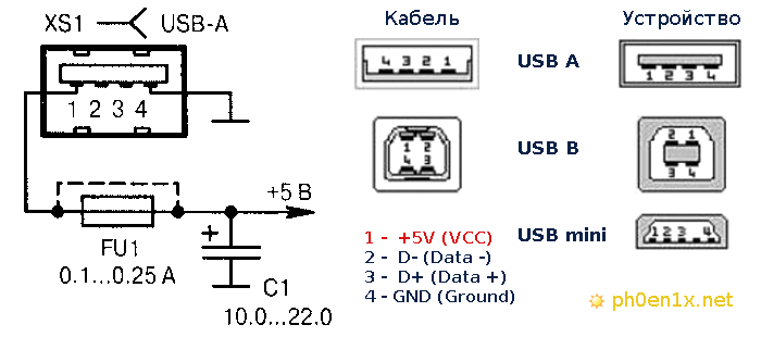 USB 5В схема питание